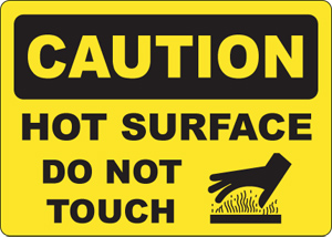 Catering Safety Signs Caution Hot Surface Sign