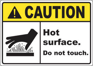 signs caution burn and hot hazard safety signs and decals hot ...