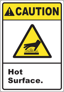 ... caution burn and hot hazard safety signs and decals hot surface scroll