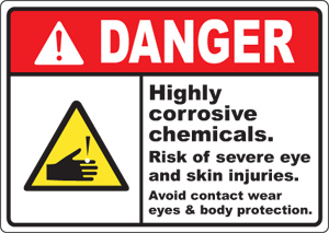 Hazard Warning Labels - Danger Corrosive Avoid Contact With Eyes ...