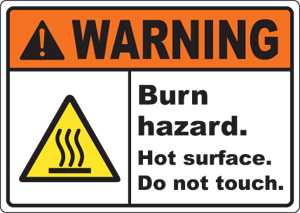 Caution Hot Surface Chsd Ansi Signs Burn And Hazard